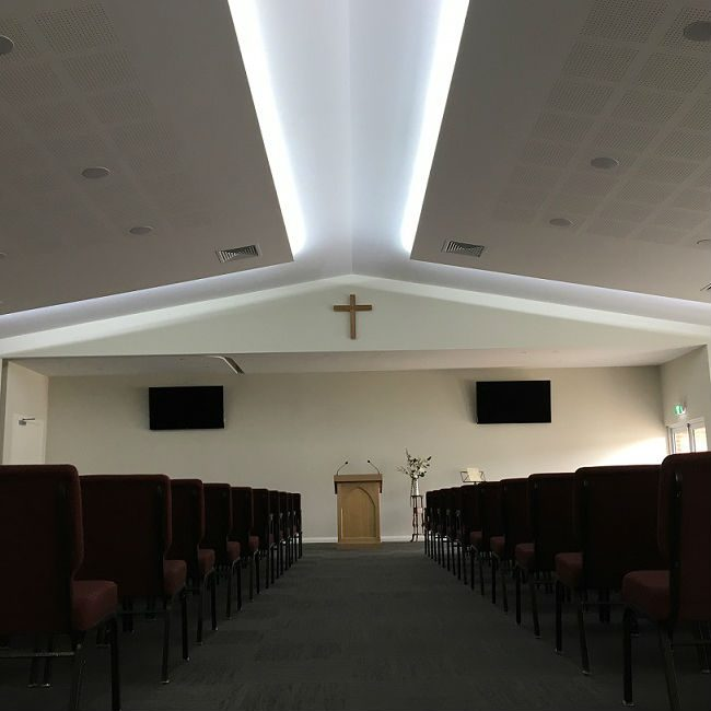 Inside of church after renovations with new ceiling systems.