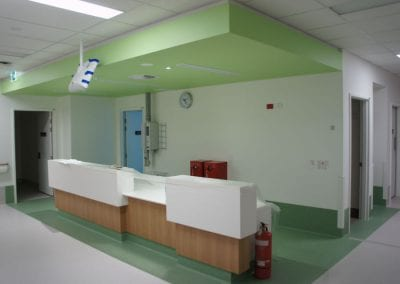 completed reception areas for each block