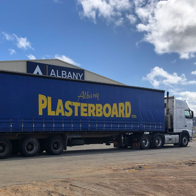 Photo of Albany Plasterboard truck with enclosed 14.5m trailer